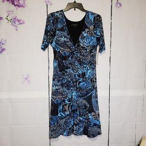 Karen Kane Blue Mist Abstract Design Midi Dress L